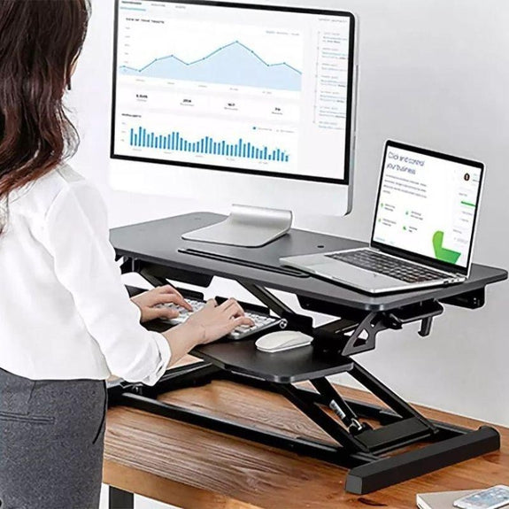 Dual-Monitor & Adjustable Height Standing Desk Converter Workstation-