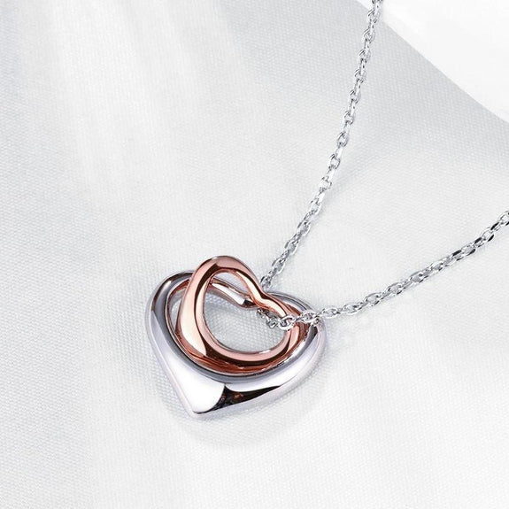 Duo Hearts Shaped Necklace in 14K Gold-