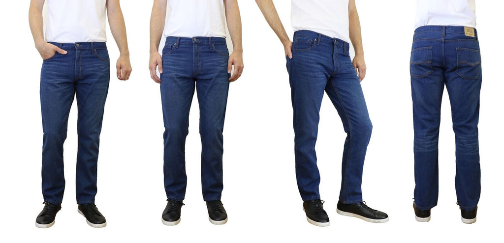 [Singles and 2-Pack] Men's Straight Leg Slim Fit Jeans - 100% Cotton-Dark Blue-30x30-Daily Steals