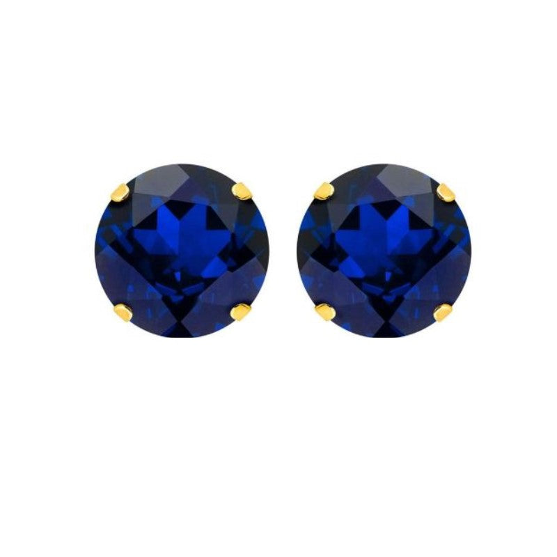 10K Yellow Gold Created 2.00 CTTW Blue Sapphire Earrings with Gift Box-Daily Steals
