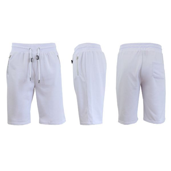 Men's Marled or Solid French Terry Shorts with Zipper Pockets-White-Small-Daily Steals