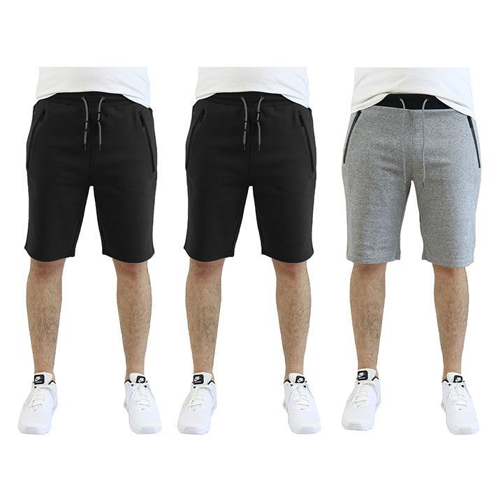 Men's Tech Fleece Shorts With Zipper Pockets - 3 Pack-Black - Black - Heather Grey-2X-Large-Daily Steals