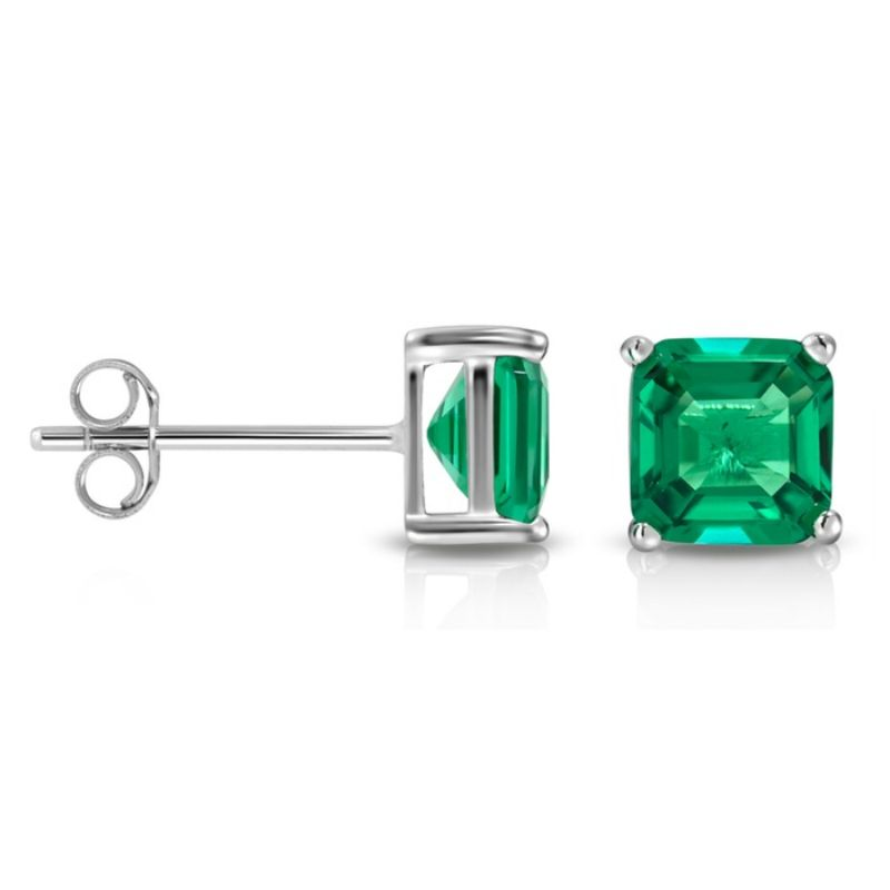 2.00 CTW Created Emerald Asscher Cut Stud Earrings-Daily Steals