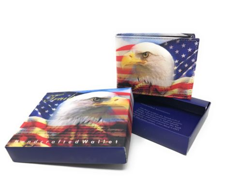 Bifold Wallets With Printed Designs - Comes in Gift Box-EAGLE FLAG-Daily Steals