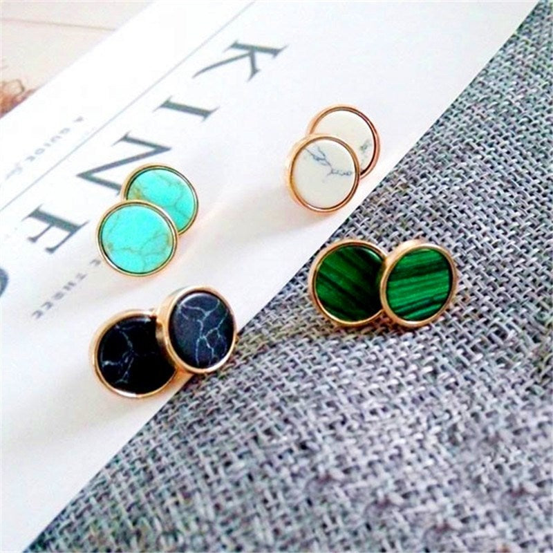 Round Gemstone Stud Earrings-Blue-Daily Steals