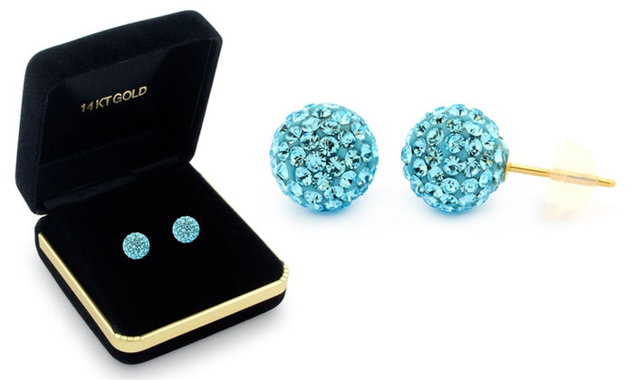 Sophia Lee's Solid 14K Gold Crystal Fireball Ball Earrings w/ Gift Box-Aquamarine-Daily Steals