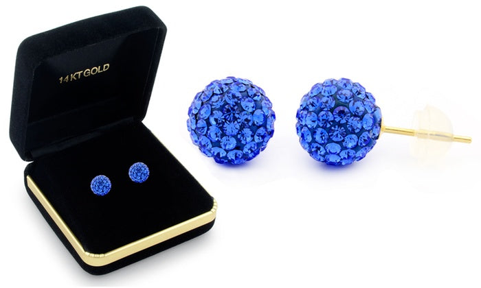 Sophia Lee's Solid 14K Gold Crystal Fireball Ball Earrings w/ Gift Box-Blue Sapphire-Daily Steals