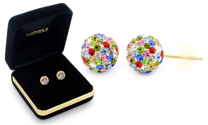 Sophia Lee's Solid 14K Gold Crystal Fireball Ball Earrings w/ Gift Box-Multi color-Daily Steals