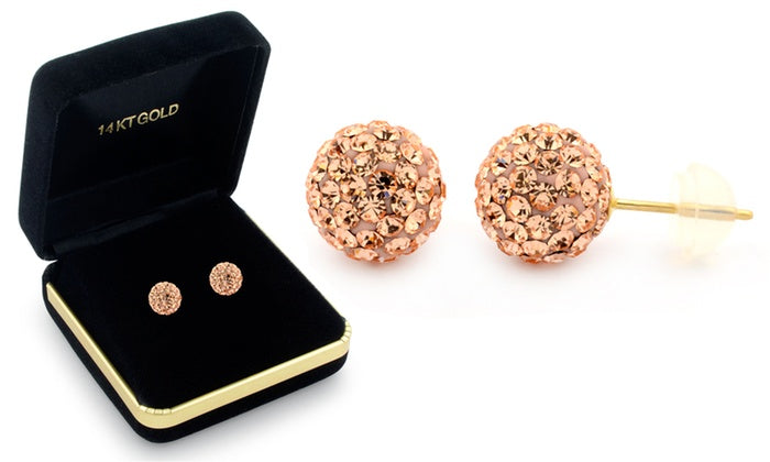 Sophia Lee's Solid 14K Gold Crystal Fireball Ball Earrings w/ Gift Box-Champagne-Daily Steals