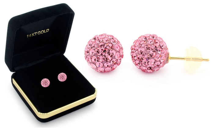 Sophia Lee's Solid 14K Gold Crystal Fireball Ball Earrings w/ Gift Box-Pink-Daily Steals