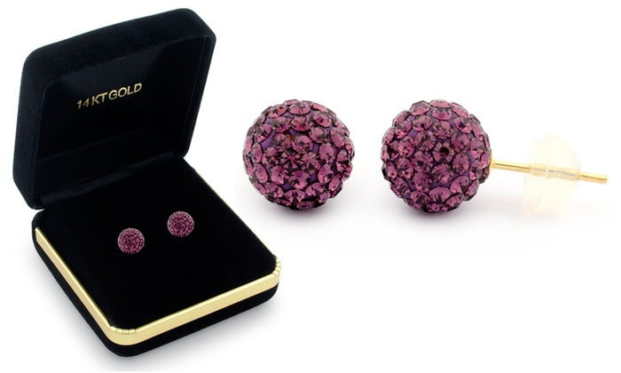 Sophia Lee's Solid 14K Gold Crystal Fireball Ball Earrings w/ Gift Box-Purple-Daily Steals