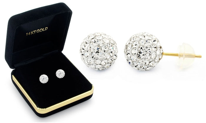 Sophia Lee's Solid 14K Gold Crystal Fireball Ball Earrings w/ Gift Box-White-Daily Steals