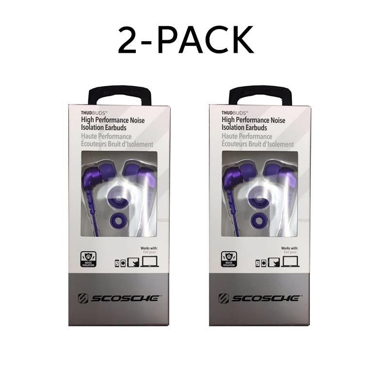 Daily Steals-Scosche thudBUDS Noise Isolation Earbuds Lightweight Angled 3.5MM Connector-Headphones-2 pack-