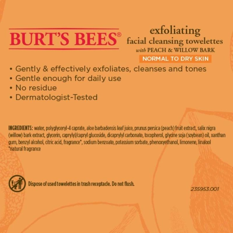 Burt's Bees Extract Facial Cleansing Feeling Soft Towelettes, 25 Count - 2 Pack
