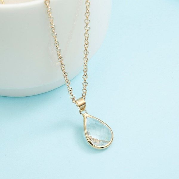 Cubic Zirconia Pear Shaped Necklace-Clear-Daily Steals
