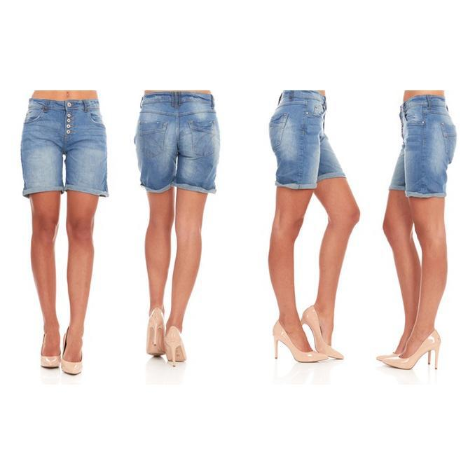 Women's Casual Stretchy Mid-Waist Blue Denim Bermuda Jean Shorts-XS-Daily Steals