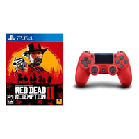Sony Playstation 4 DualShock 4 Wireless Controller Red + Red Dead Redemption 2 PS4 Bundle