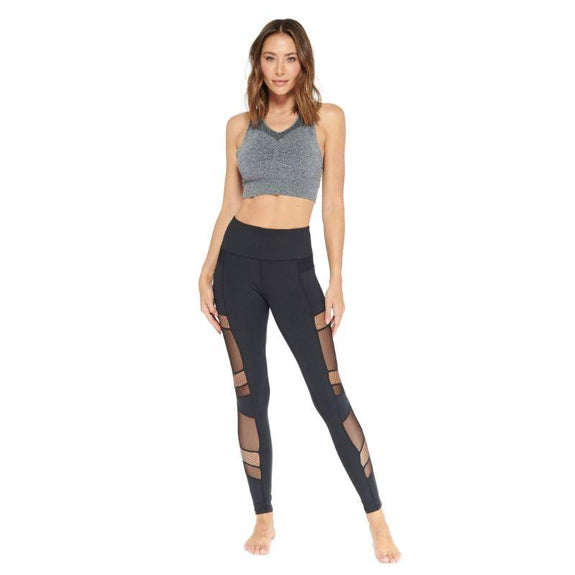Women's Multi Mesh Cutout Panel Leggings-Black-S-Daily Steals