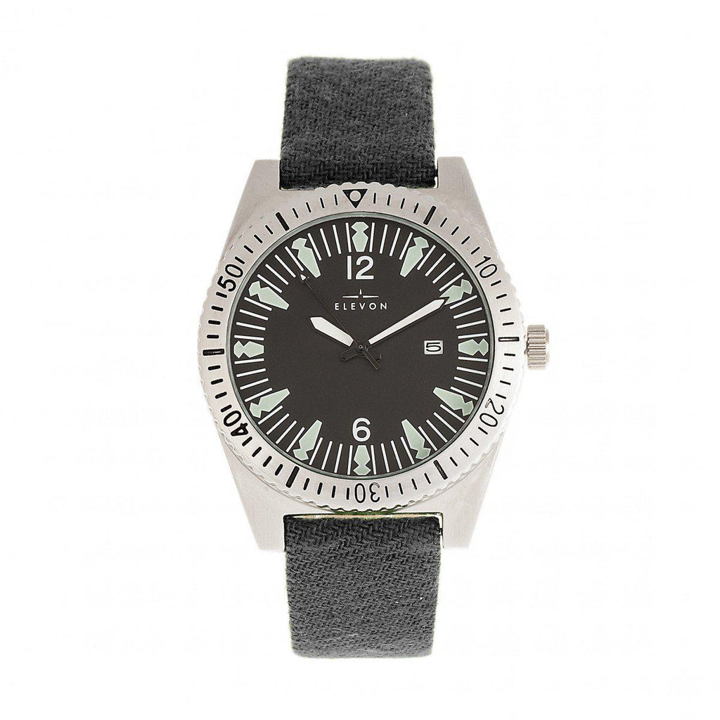 Elevon Jeppesen Watch w/Date Display-Pressed Wool Leather-Band Watch w/Date - Grey-Daily Steals