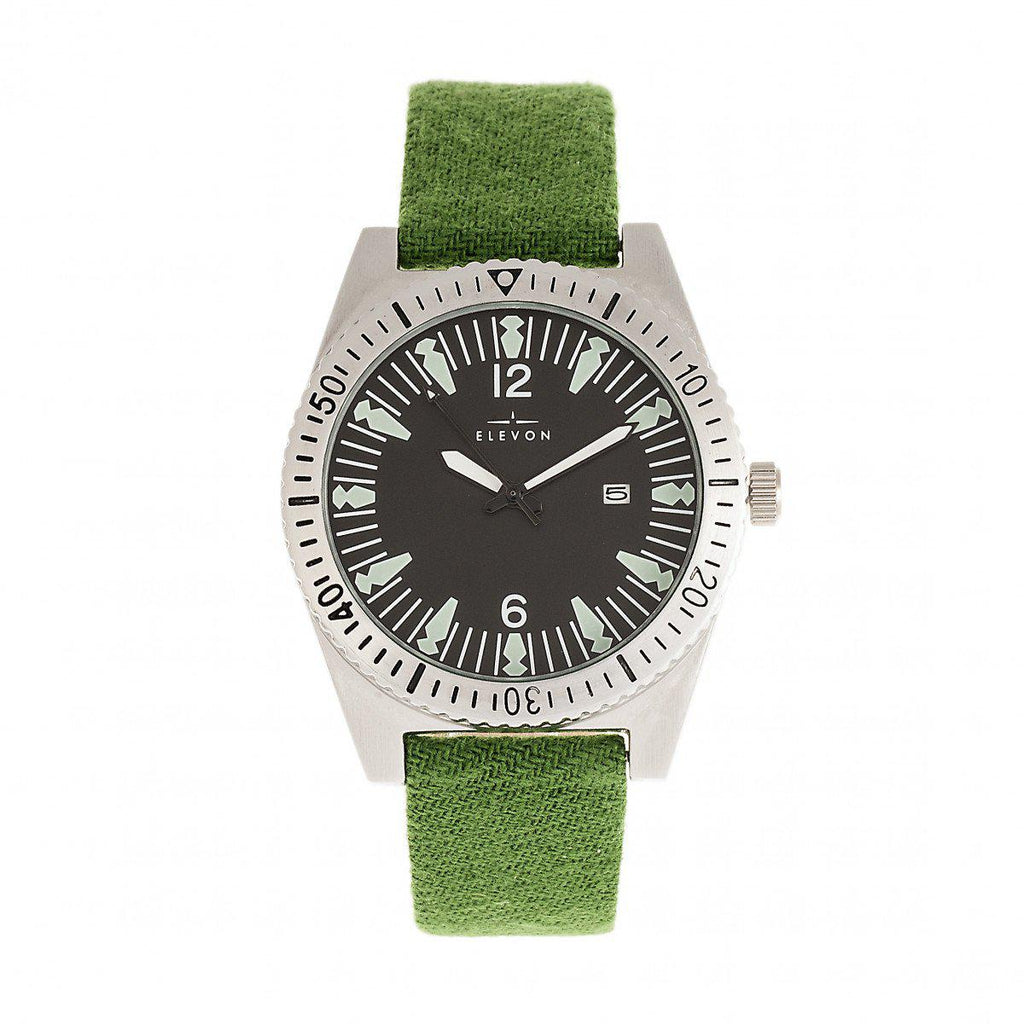 Elevon Jeppesen Watch w/Date Display-Pressed Wool Leather-Band Watch w/Date - Green-Daily Steals