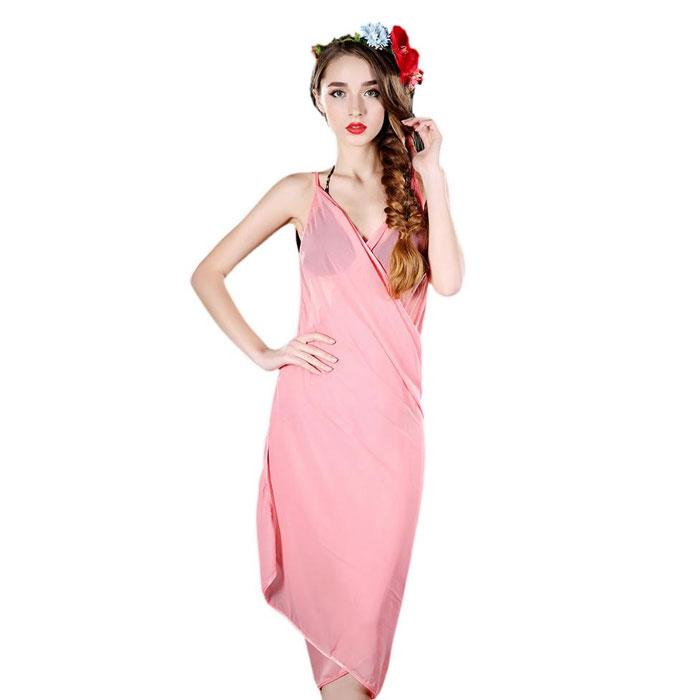 Elegant Sheer Wrap Dress - One Size Fits Most-Pink-Daily Steals