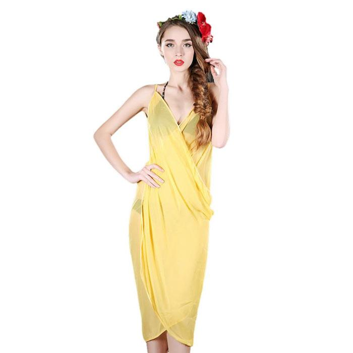 Elegant Sheer Wrap Dress - One Size Fits Most-Yellow-Daily Steals