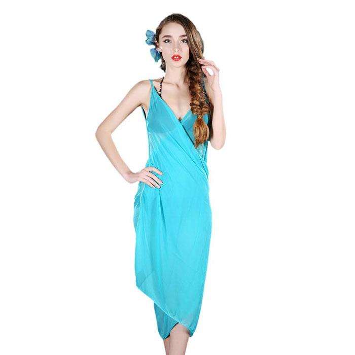 Elegant Sheer Wrap Dress - One Size Fits Most-Blue-Daily Steals