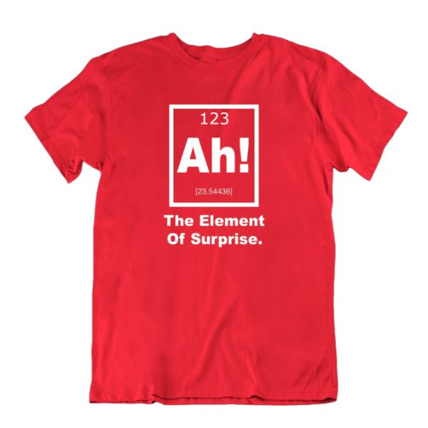 """Ah! The Element of Surprise"" Periodic Table Science T-Shirt-Red-Small-Daily Steals"