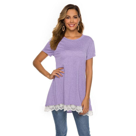 Women's Long Lace Trim Top by Lilly Posh-Lavender-M-Daily Steals