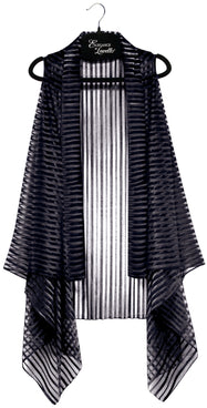 Elegance by Lavello Sheer Convertible Vests-Black-Daily Steals