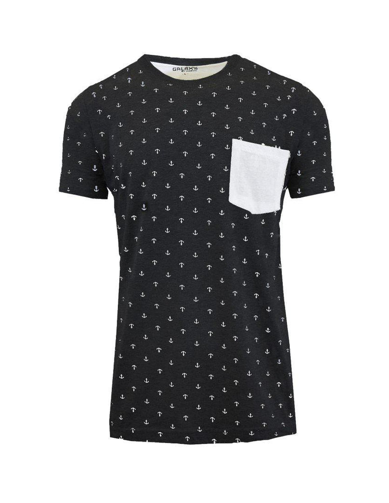 Short Sleeve Printed Pocket T-Shirt for Men-Black Anchor-Small-Daily Steals