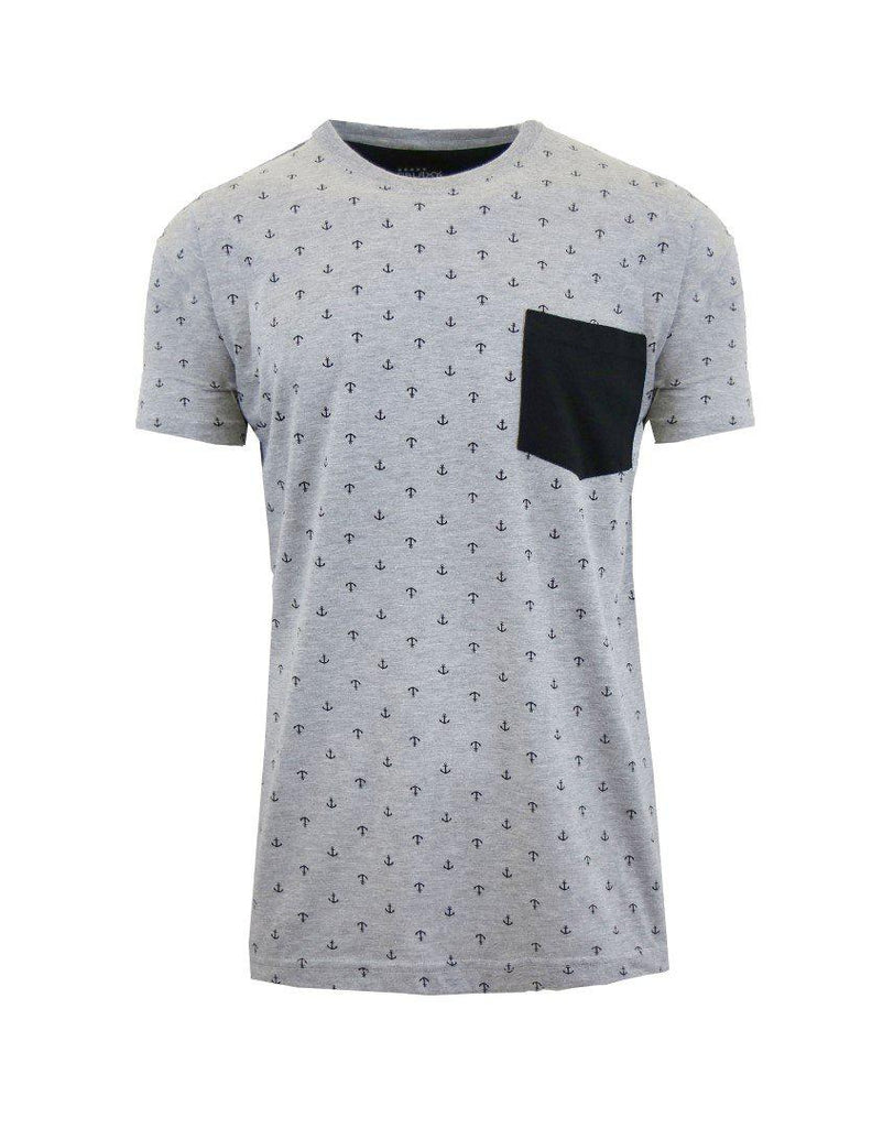 Short Sleeve Printed Pocket T-Shirt for Men-Heather Grey Anchor-Small-Daily Steals