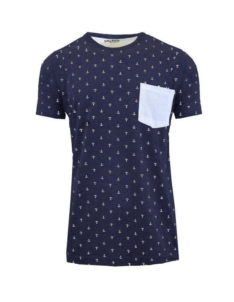Short Sleeve Printed Pocket T-Shirt for Men-Navy Anchor-Small-Daily Steals