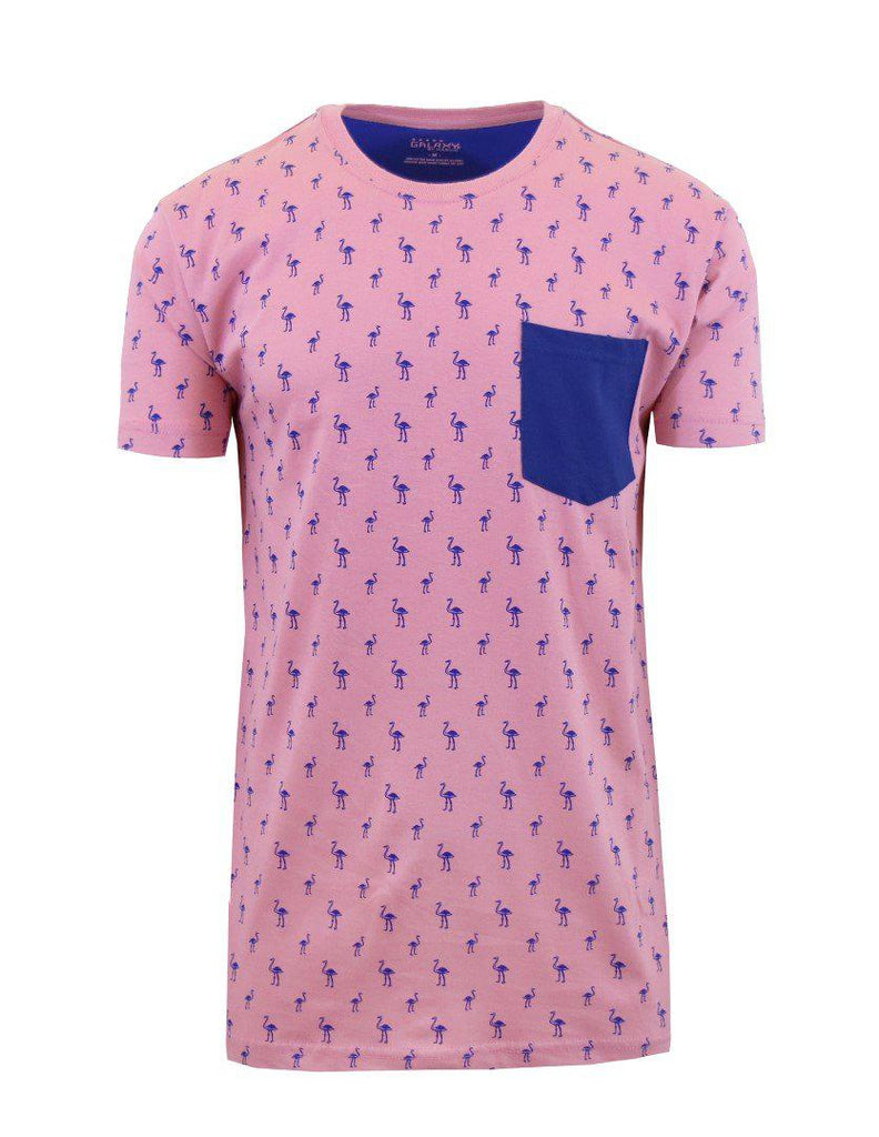 Short Sleeve Printed Pocket T-Shirt for Men-Pink Flamingo-Small-Daily Steals