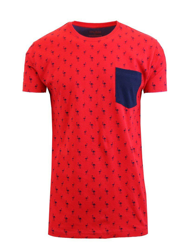 Short Sleeve Printed Pocket T-Shirt for Men-Red Flamingo-Small-Daily Steals