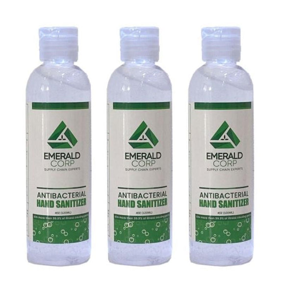 Emerald Corp Antibacterial Hand Sanitizer - 4oz-3 Pack-