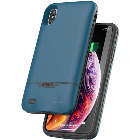 Encased iPhone Battery Cases - 5270mAh Charging Case with Extended Power Reserve-Rebel Blue-Xs Max-