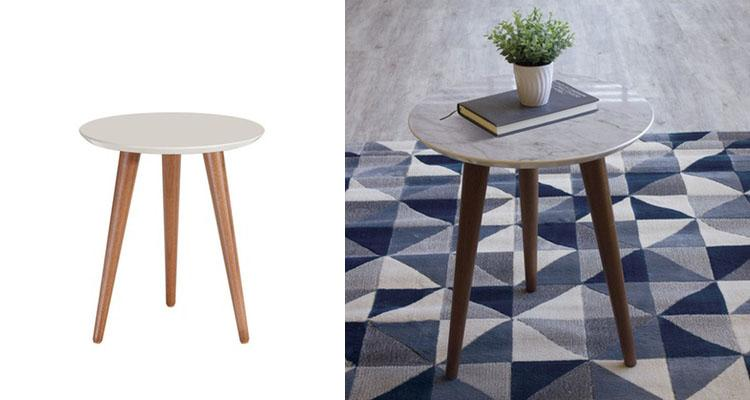 Manhattan Comfort Moore Modern End Table with Wood Legs-Daily Steals