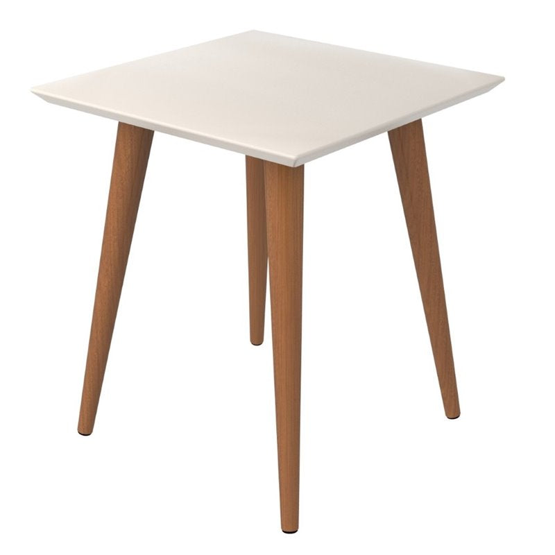 Manhattan Comfort Moore Modern End Table with Wood Legs-Off White-Daily Steals