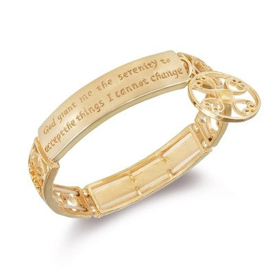Serenity Prayer Engraved Bracelet - 3 Finishes-Gold-Daily Steals