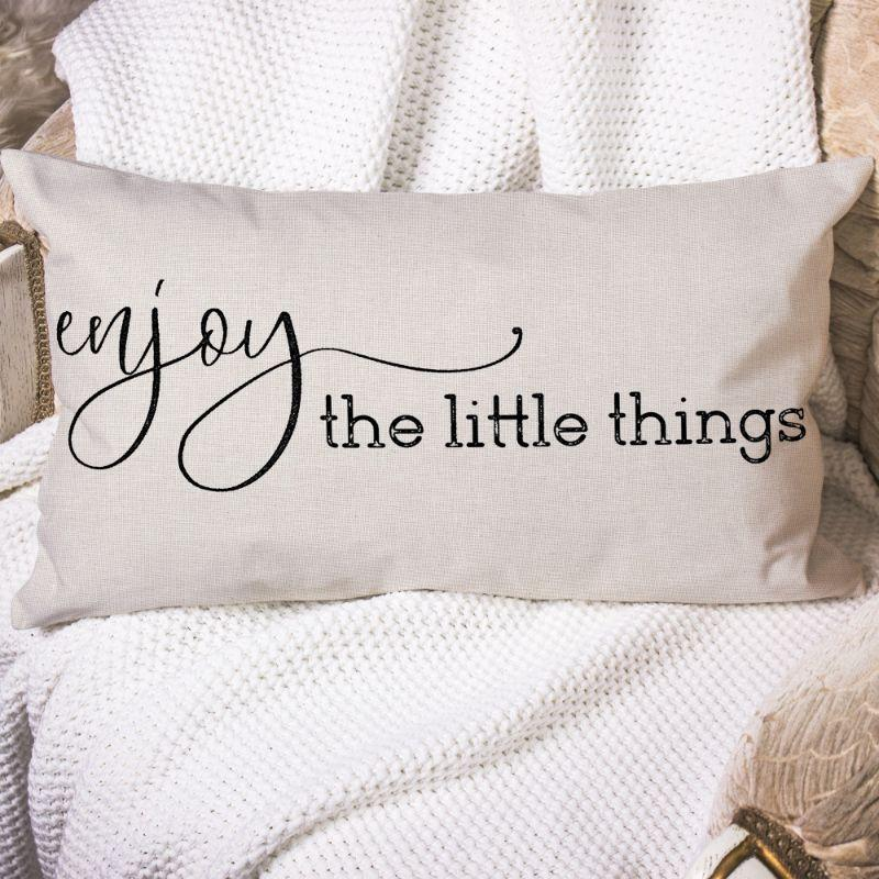 "Enjoy The Little Things - Lumbar Pillow Cover - 20"" x 12""-"