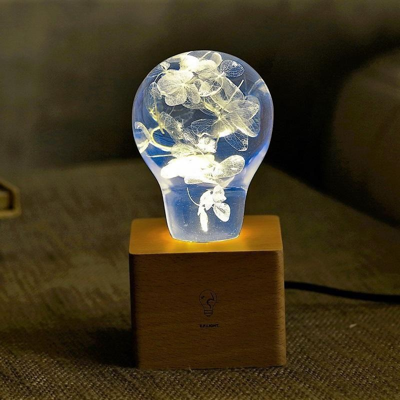 EP Light Blue Hydrangea Flower Bulb Art Fixture Lamp with Optional Modern or Vintage Base Stand-Bulb + Base-