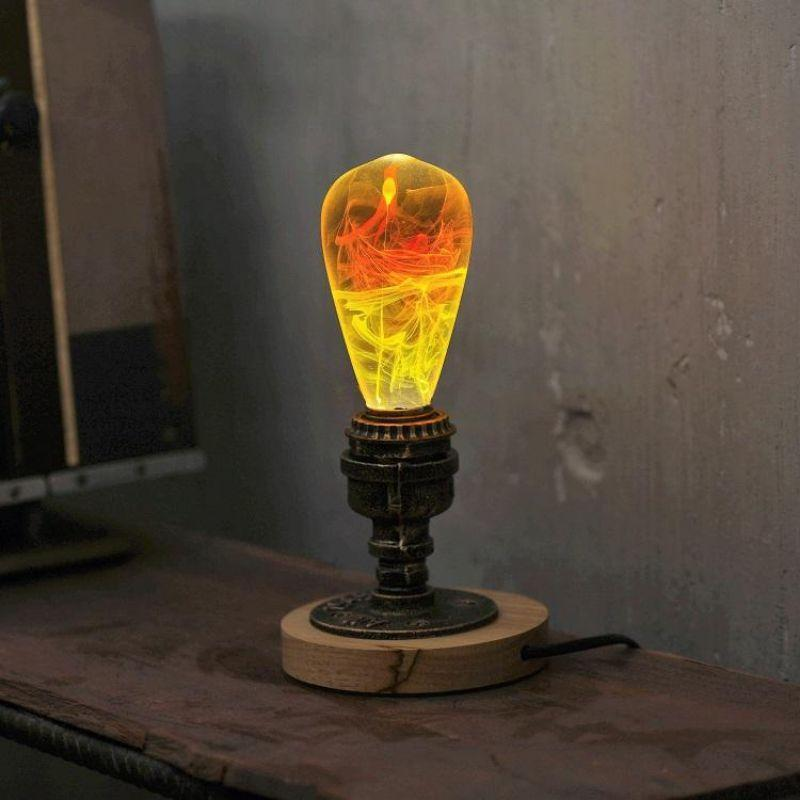 EP Light Solar Corona Yellow Orange Bulb Art Fixture Lamp with Optional Modern or Vintage Base Stand-Bulb + Vintage Round Base-