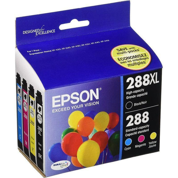 Epson Black High Capacity and Color Standard Capacity Ink Cartridges, C/M/Y/K - 4 Pack-