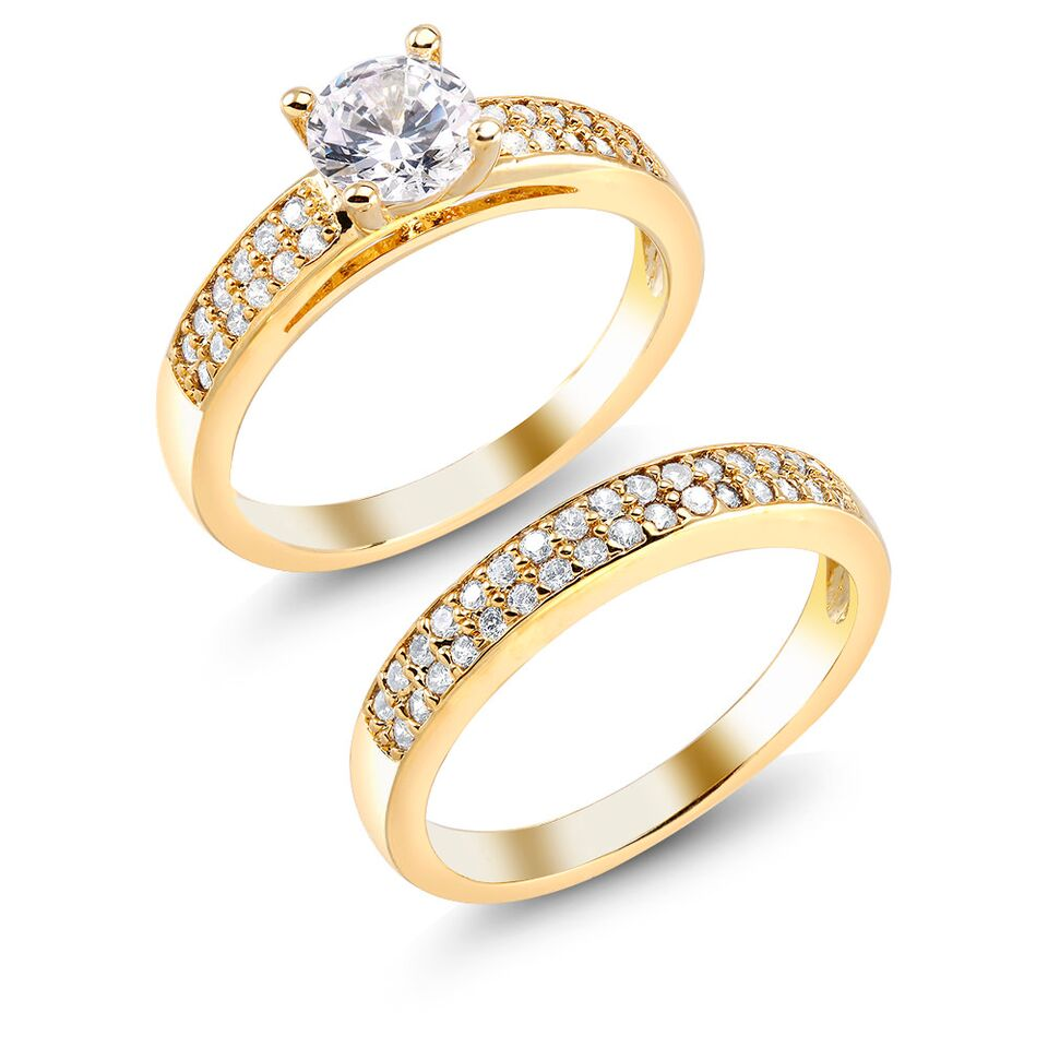 Yellow 18kt Gold Two-Piece Engagement Ring Set-7-Daily Steals