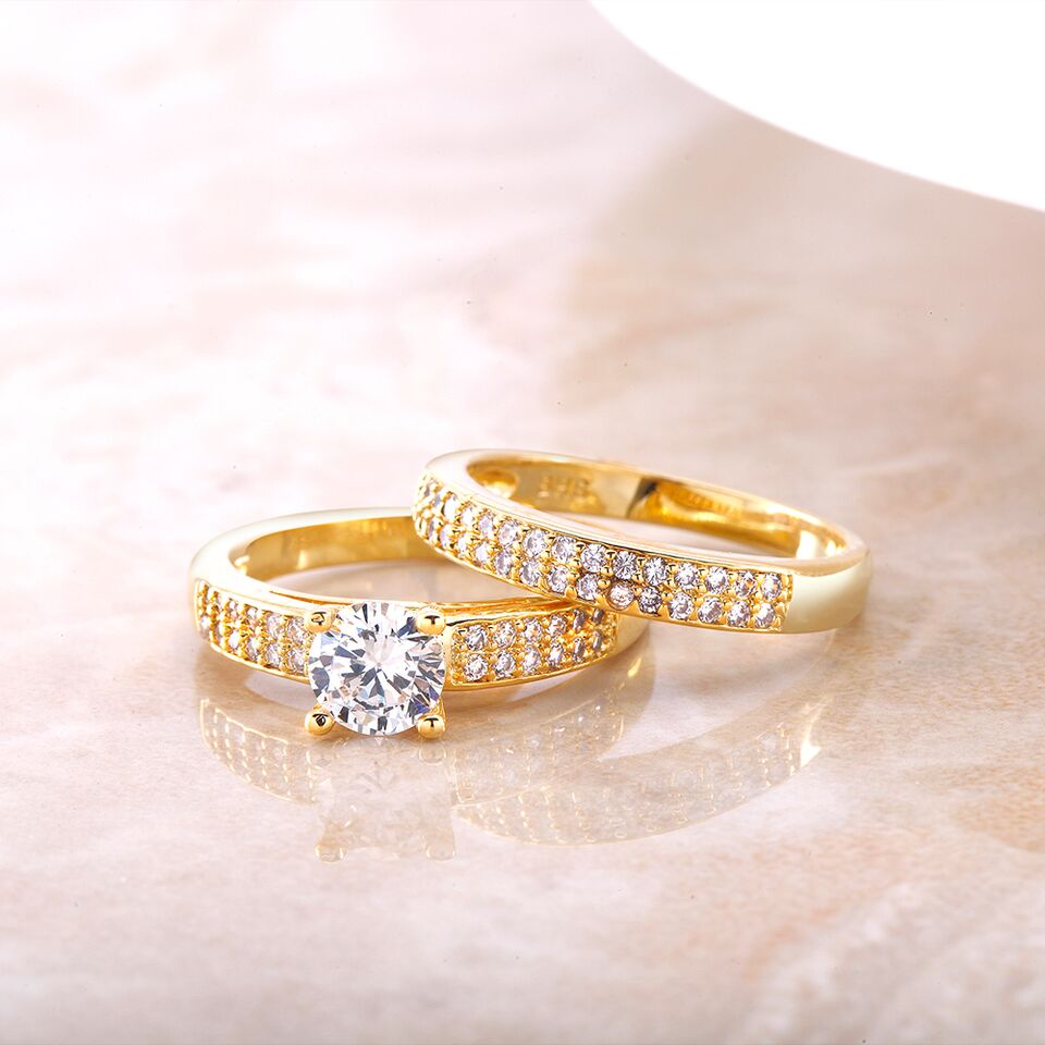 Yellow 18kt Gold Two-Piece Engagement Ring Set-Daily Steals