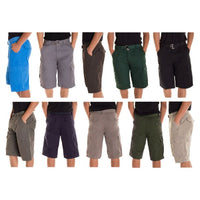 Alta Designer Fashion Men's Cargo Shorts, Twill Belt Included - Multiple Colors