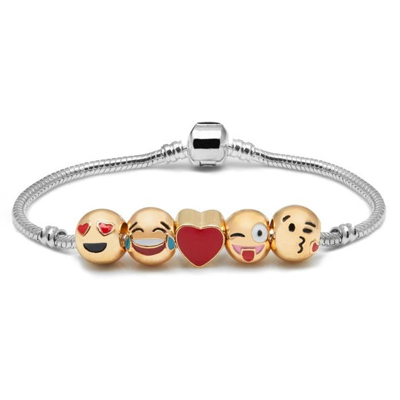 Daily Steals-Emoji Charm Bracelet in 18K White Gold Plating-Jewelry-5 Charm - Version 1-