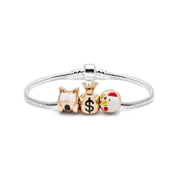 Daily Steals-Emoji Charm Bracelet in 18K White Gold Plating-Jewelry-3 Charm - Version 2-