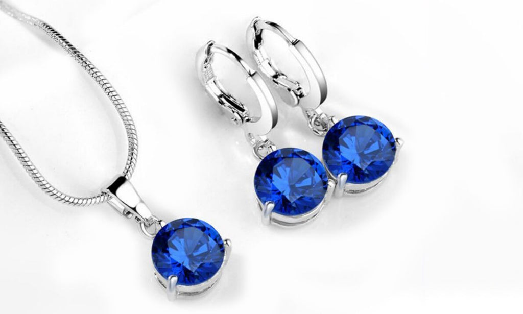 Set of 18-Kt Gold Plated Necklace and Earrings-Blue-Daily Steals